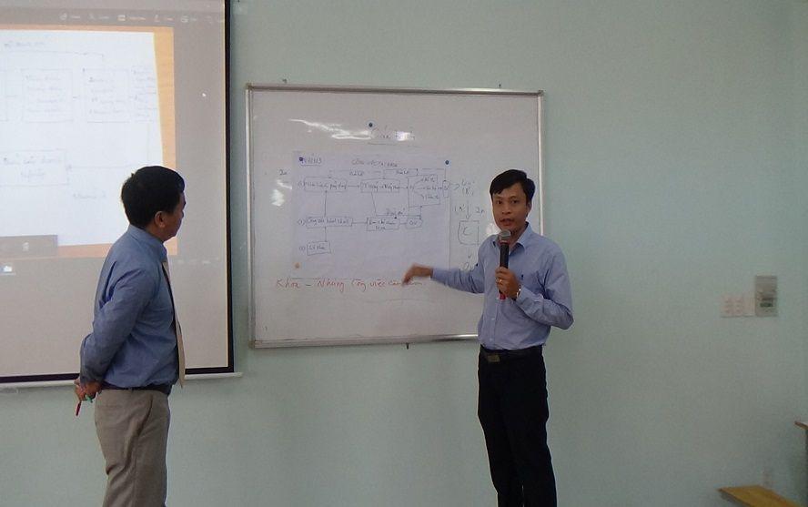 TS. Nguyễn Hiệp lắng nghe phát biểu của học viên trường Cao Đẳng Công Thương tp HCM, tháng 10/2017
